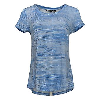 H par Halston Women's Top Printed Scoop Neck Short Sleeve Blue A306895