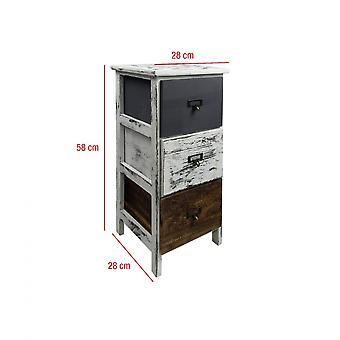 Rebecca Möbel Nachttisch 3 Schubladen Holz Retro weiß grau braun 58x28x28