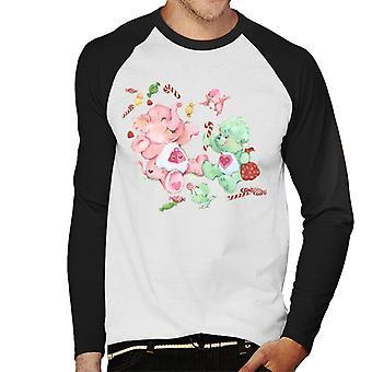 Care Bears Christmas Lotsa Corazón Elefante Festivo Candy Men's Baseball camiseta de manga larga