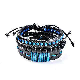 Blue Punk Woven Leather Chain Multilayer Beaded Bracelet Wholesale for  Men