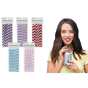 PMS Biodegradable Paper Drinking Straws - 2 Packs x 40 Straws Assorted