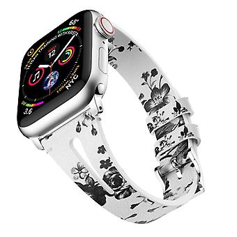 Water Drop-shaped Leather Wrist Strap Watch Band for Apple Watch Series 4 & 3 & 2 & 1 38mm(White&Gray)