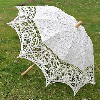 Bride Wedding Umbrella Handmade Embroidery Lace Parasol Scene Layout Interior