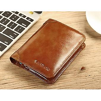 Classic Style Genuine Leather, Short Purse, Card Holder Wallet