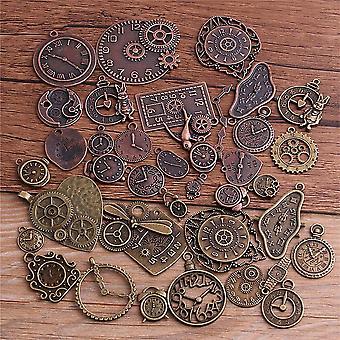 Liga de zinco vintage de zinco misturado steampunk clock charms 10pcs