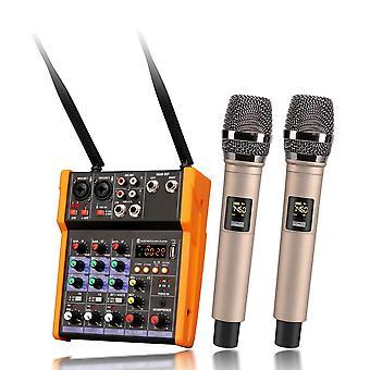 Console de mélangeur audio 4 canaux - Microphone sans fil et mixage sonore avec