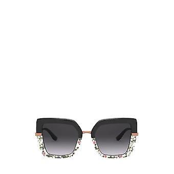 دولتشي & غابانا DG4373 أعلى أسود على طباعة ارتفع / نظارات شمسية أنثى سوداء