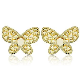 14K geel gouden vlinder Stud Oorbellen
