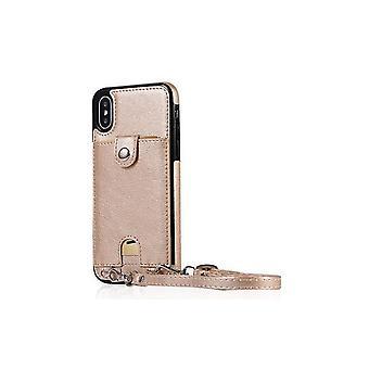 Apple iPhone XR nahkakotelo rannehihnalla - kulta