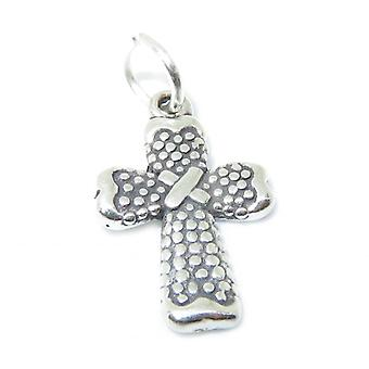 Small Patterned Cross Sterling Silver Charm Pendant .925 X 1 Crosses - 8427