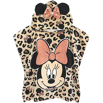 Disney Minnie Mouse Girl's Towel Poncho | Kids Pink Disney Hooded Beach Towel | Children's Bath Time Towel With 3D Ears & Bow Hood | Pink | Disney Gift