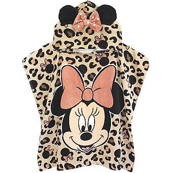 Disney Minnie Mouse Girl's Towel Poncho | Enfants Pink Disney Hooded Beach Towel | Serviette de bain pour enfants avec oreilles 3D & Bow Hood | Rose | Cadeau Disney