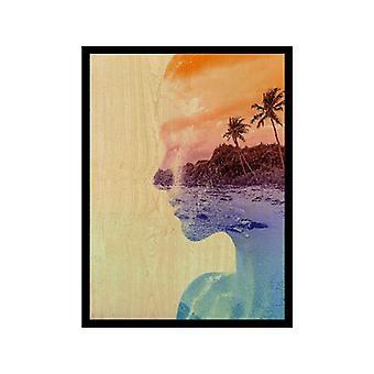 Bild mit Mehrfarbenrahmen in MDF, Polyester, L40xP2.5xA60 cm