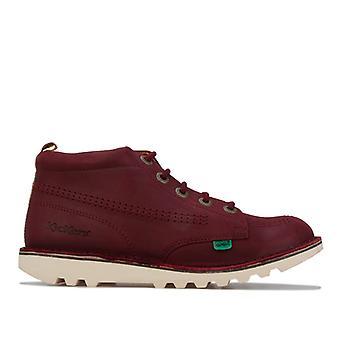 Boy's Kickers Junior Kick Hi Leather Boots in Brown