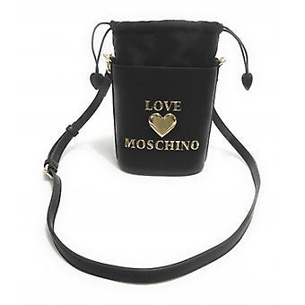 תיק נשים אהבה Moschino דלי עם רצועת כתף שחור Ecopelle לוגו זהב B21mo63