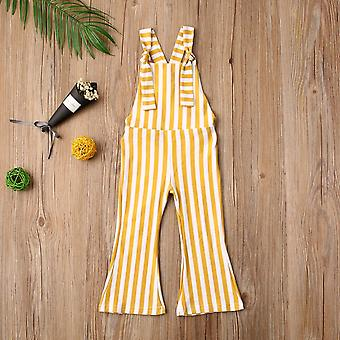 Toddler Sleeveless Vertical Stripes Rompers Bell-bottom Jumpsuits Overalls