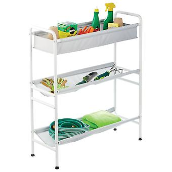 mDesign 3-Tier Metal and Fabric Garage Storage Cart, Compact Design - White/Gray