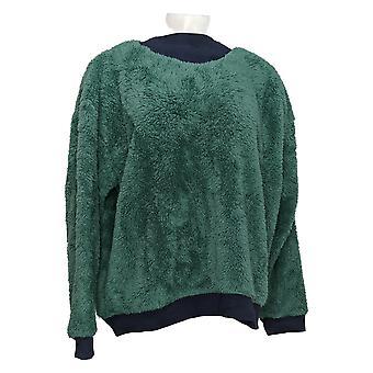 Cuddl Duds Women's Pajama Top Petite Sherpa Pullover Green A381803