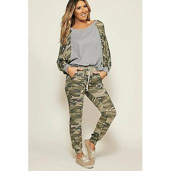 Women Camouflage Disguise Long Sleeve Top And Drawstring Pants Set