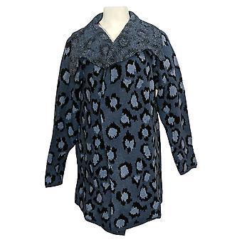 Denim & Co. Women's Sweater Jacquard Long-Sleeve Cardigan Blue A383621