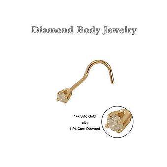 Nenäruuvi 14k kultaa kiinteää kultaa aidon timantin kanssa