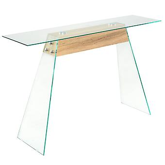 vidaXL console MDF et verre 120 x 30 x 76 cm en chêne