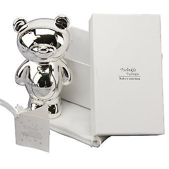 Twinkle Twinkle Silver Teddy Money Box