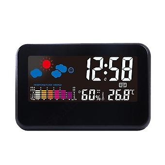 2618T Big Color Screen Weather Time Date Display Réveil Multifonction Voice Control Temperature Humidity Alarm Function Home Tool