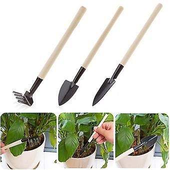 Mini Spade Skovl Harrow Urtepotte Værktøjer, Potteplanter, Vedligeholdelse Træ
