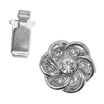 Filigree Box Clasps, Flower Design with Swarovski Crystals 15mm, 1 Piece, Rhodium Plated
