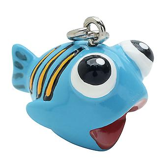 Jewelry Charm, 3-D Hand Painted Resin Fish, 19mm, 1 Piece, Blue