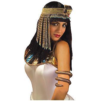 Egyptische Cleopatra koningin van de Nijl vrouwen kostuum Beaded Asp zendspoel