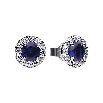 Diamonfire Womens 925 Plata esterlina Rodio, Paladio &Platinum Plated Sapphire Blue Cubic Zirconia Round Stone with Pave Clear Stone Surround Stud Earrings