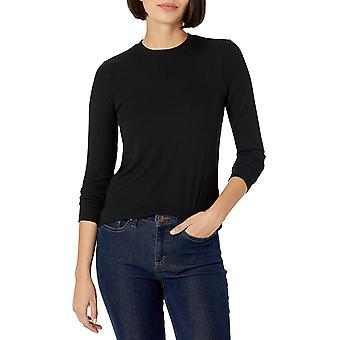 Daily Ritual Kvinnors Rayon-Spandex Fine Rib Standard-Fit Långärmad Crewneck T-Shirt