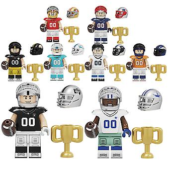 8pc Rugby Player Building Block Minifigure For Lego
