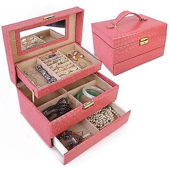 Multi-layer Leather Jewelry Box Earring Ring Watch Jewelry Storage Box