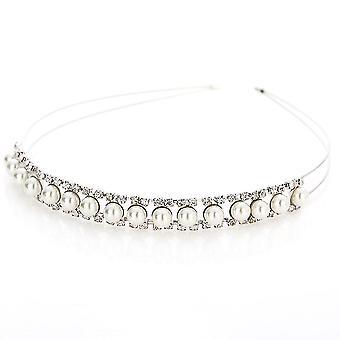 Crystal Rhinestone Pearl Headband Silver Wedding Party Tiara Pente Bandas de Cabelo Bridal Acessórios de Cabelo