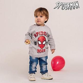 Children's Long Sleeve T-shirt Spiderman Grey