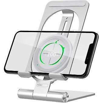 Regulowana bezprzewodowa ładowarka Nillkin z uchwytem na telefon, 2 w 1, bezprzewodowa podstawka do ładowania, kompatybilna z iPhone 12 Pro Max / 12 Pro, Samsung S20 Ultra / Note 20, Huawei P40 Pro,(srebrny)