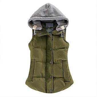 Mile Women's Slim Sleeveless Quilted Removable Hooded Winter Puffer Vest Coat