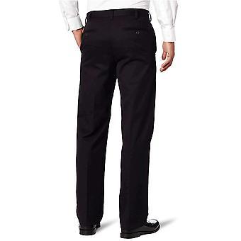 IZOD Men's American Chino Flat Front Straight-Fit Pant, Black, 32W x 30L
