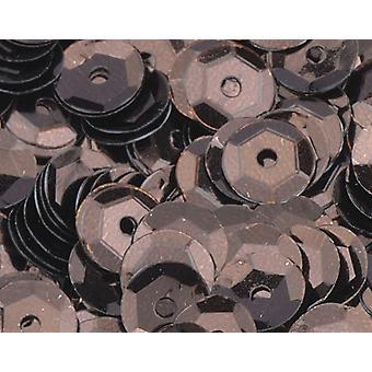 6mm Mörkbrun Runda Kupade paljetter - 4000pk