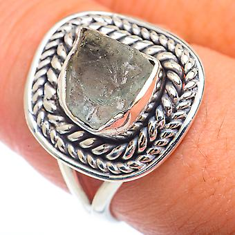 Rough Aquamarine Ring Taille 9 (925 Argent Sterling) - Bijoux Boho Vintage faits à la main RING72891