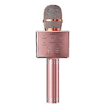 Microfono Karaoke Bluetooth wireless per bambini, microfono domestico (Rosegold)