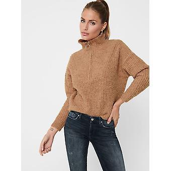 SOLO Suéter de punto clásico para mujer ONLEMILY LIFE Jersey de cuello redondo Pullover ZIP