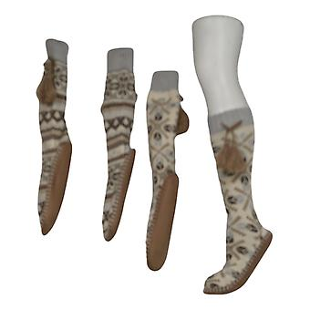 Muk Luks Women's 2 Pack Printed Slipper Sox Beige Socks 673631