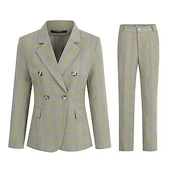Allthemen Ladies Business Plaid Notched Lapel Single Row One Button Suit Two Pieces(Suit Jacket + Pants)