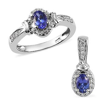 Set of 2 Tanzanite and Zircon Halo Ring and Pendant in Silver Size L, 1.50 Ct.