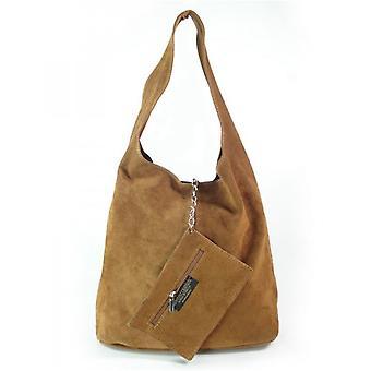 Vera Pelle Zamsz Shopper Bag XL A4 Camel W456C everyday  women handbags