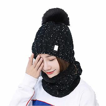 Ladies Hat Scarf Set Winter Ski Hat Plus Velvet Warm Knitted Hat Cycling Hat Sweater Hat Black